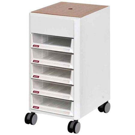 Mobile Filing Cabinet Office Storage with Wooden Lid, Casters - 5 Pieces A4X Size Drawers - Caster-mounted and filled with convenient drawers, this transportable filing cabinet is ideal for small or large offices.