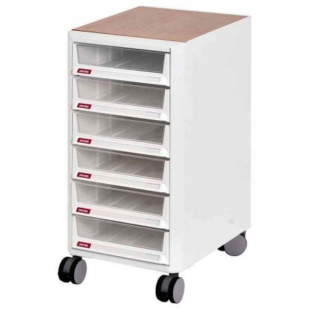 Mobile Filing Cabinet Office Storage with Wooden Top, Casters - 6 Pieces A4X Size Drawers - Sturdy drawers dominate this handy mobile storage trolley that is ideally suited to today's open-plan offices.