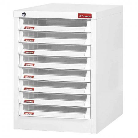 Steel File Cabinet with 8 plastic drawers in 1 column for A4 paper - This office file cabinet with numerous drawers and labels has been designed to improve workplace efficiency.
