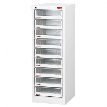 Steel File Cabinet with 9 deep drawers in 1 column for A4 paper - Showroom or shared office filing becomes a breeze with these steel cabinets with plastic drawers from SHUTER.