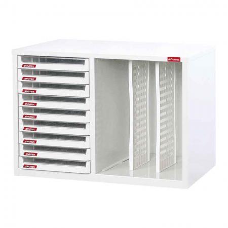 1열에 9개의 플라스틱 서랍이 있고 3열에 2개의 칸막이가 있는 강철 파일 캐비닛 - 서랍과 수직-수평 플렉시 보관 주머니가 있는 사무실용 기둥 스타일의 강철 캐비닛 보관 시스템.
