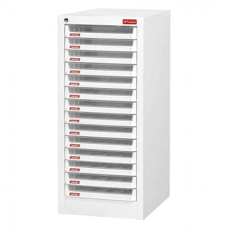 Steel File Cabinet with 14 plastic drawers in 1 column for A4 paper - SHUTER knows what you need to best manage your files and stationery.