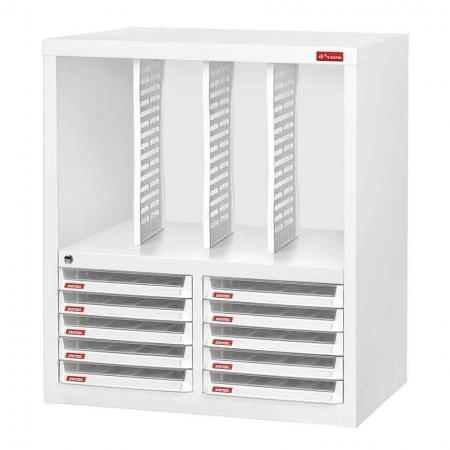 Steel File Cabinet with 10 plastic drawers in 2 columns and 3 dividers in 4 columns - Plenty of space to store your important and most frequently used documents in this handy dandy steel working cabinet.