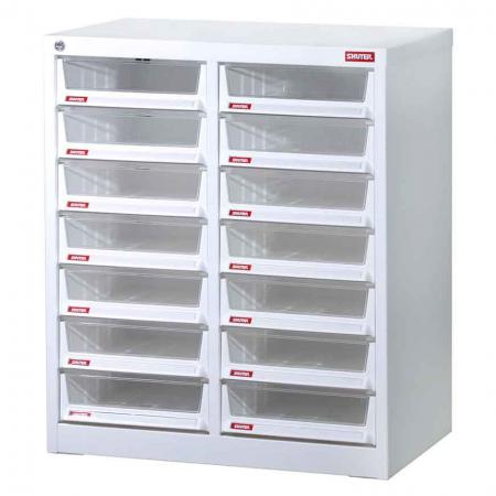 Steel File Cabinet with 14 deep drawers in 2 columns for A4 paper - Made in an eco-friendly manner, this cabinet will bring organizational prowess to your office space.