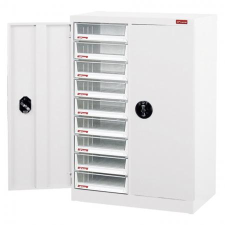 Steel File Cabinet with doors, 18 deep drawers in 2 columns for A4 paper - Help yourself to store files and documents easily and readily with SHUTER door filing cabinets with drawers.
