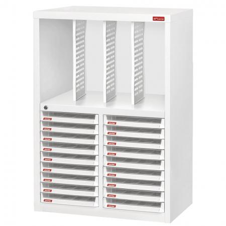 Steel File Cabinet with 18 plastic drawers in 2 columns and 3 dividers in 4 columns - With two kinds of filing systems in one simple unit, this special cabinet can accommodate a wide variety of office or industrial storage needs.