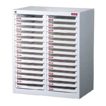 Steel File Cabinet with 28 plastic drawers in 2 columns for A4 paper - This cabinet offers the very best in combination steel and plastic filing solutions.