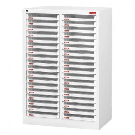 Steel File Cabinet with 36 plastic drawers in 2 columns for A4 paper - This SHUTER steel cabinet can store such a large range of files and documents that we know you won't have to look anywhere else!