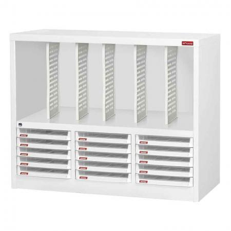 Steel File Cabinet with 15 plastic drawers in 3 columns and 5 dividers in 6 columns - A multi-layered solution to beside-or-under-desk storage for office or home, adults or children.