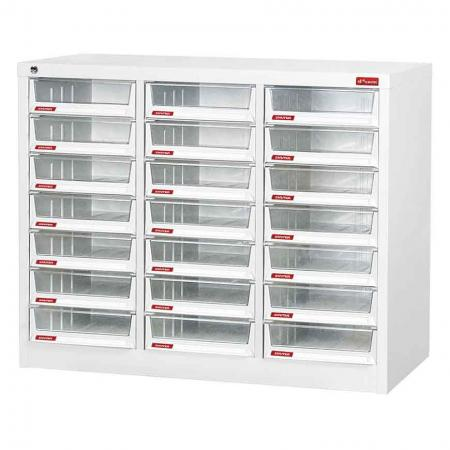 Steel File Cabinet with 21 deep drawers in 3 columns for A4 paper - Multi-column, matching-drawer document cabinet made of steel with space for labelling and logo.