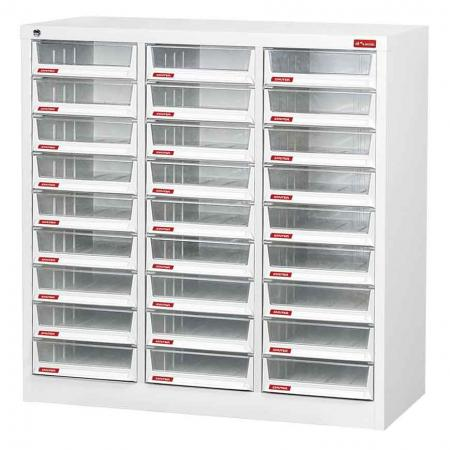 Steel File Cabinet with 27 deep drawers in 3 columns for A4 paper - A classic flat-filer unit designed to sit on your desktop or on the floor of your office–fill it with files, documents, and more.
