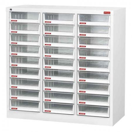 A4 용지용 3열에 27개의 깊은 서랍이 있는 스틸 파일 캐비닛 - 데스크탑이나 사무실 바닥에 놓고 파일, 문서 등으로 채우도록 설계된 클래식 플랫 파일러 장치입니다.