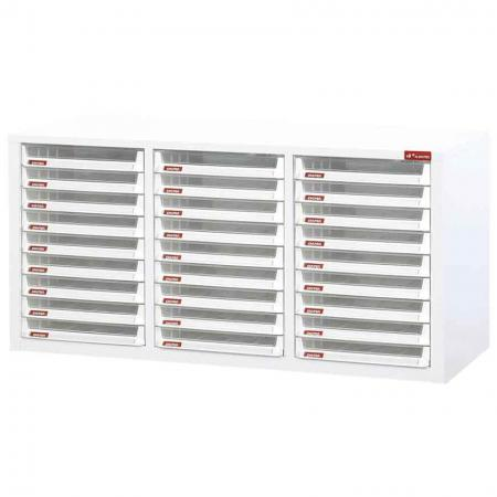 Steel File Cabinet with 27 plastic drawers in 3 columns for A4 paper - Get this cabinet to hasten the chore of filing in your office or home–an office staple.