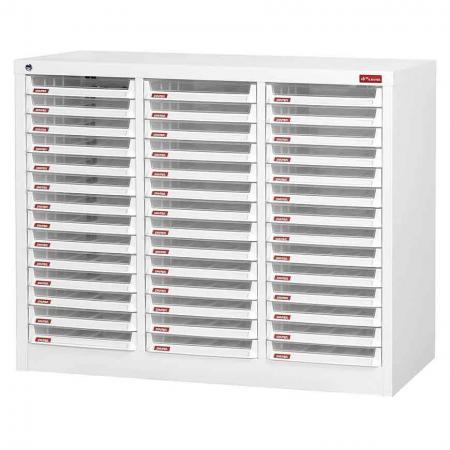 Steel File Cabinet with 42 plastic drawers in 3 columns for A4 paper - A 42-drawer file cabinet that is unequaled in design and quality.