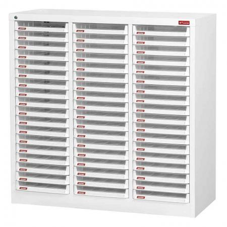 Steel File Cabinet with 54 plastic drawers in 3 columns for A4 paper - Get organized with SHUTER's great range of efficient filing storage systems.