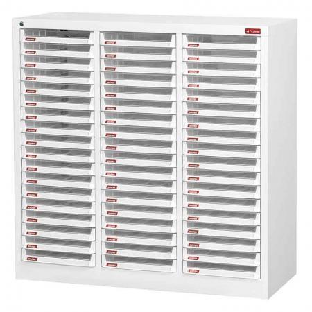 A4 용지용 3열에 54개의 플라스틱 서랍이 있는 스틸 파일 캐비닛 - 정리하기 SHUTER의 다양한 효율적인 파일링 스토리지 시스템.