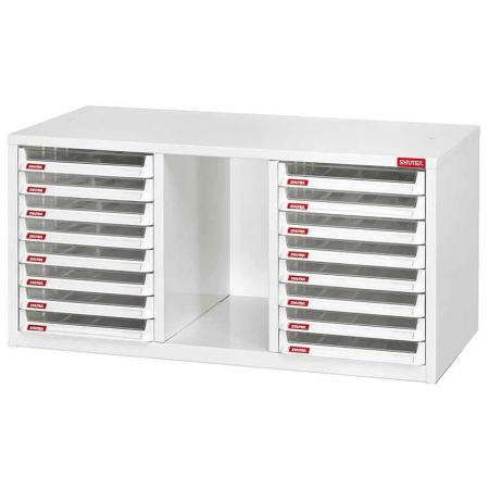 Filing Cabinet with Vertical Storage Cubby - 16 Pieces of Large A4 Size Shallow Drawers in 3 Columns