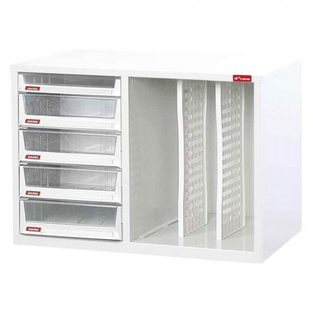 Steel File Cabinet with 4 deep drawers, 1 plastic drawer in 1 column and 2 dividers in 3 columns - Storage solutions provided by SHUTER include office cabinets that provide space for storage of files suitable for different work locations.
