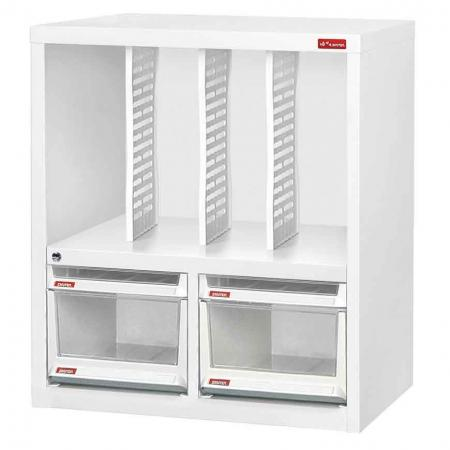 Steel File Cabinet with 2 large drawers, 2 plastic drawers in 2 columns and 3 dividers in 4 columns - Don't underestimate the organizational power of these steel and plastic filing cabinets by SHUTER.