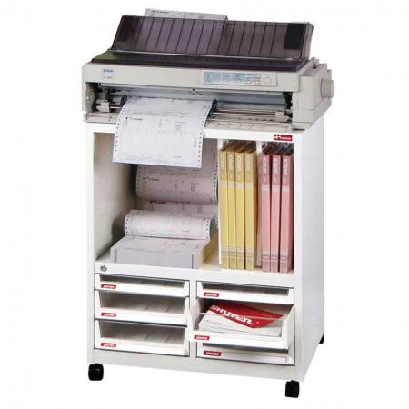 Steel File Cabinet for Printer with 4 deep drawers, 2 plastic drawers in 2 columns and 2 dividers in 3 columns - Best used for transportable office needs, like for fax machines or computer screens and printers, which also need items like paper stored with them.