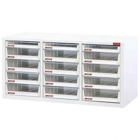 Steel File Cabinet with 12 deep drawers and 3 plastic drawers in 3 columns