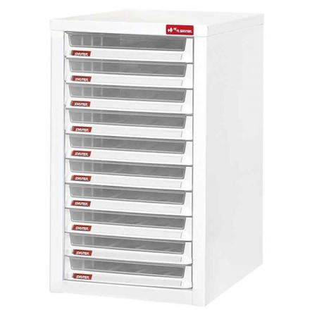 Steel File Cabinet with 10 plastic drawer in 1 column for B4 paper - No more messy piles of files with this super steel filing system by SHUTER.