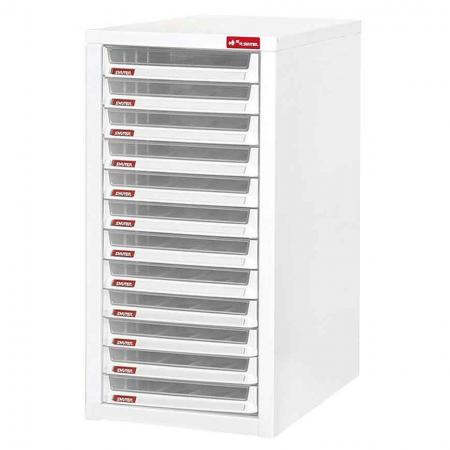 Steel File Cabinet with 12 plastic drawer in 1 column for B4 paper - Enable easy access to your most important documents with this sturdy steel A4 cabinet storage system.