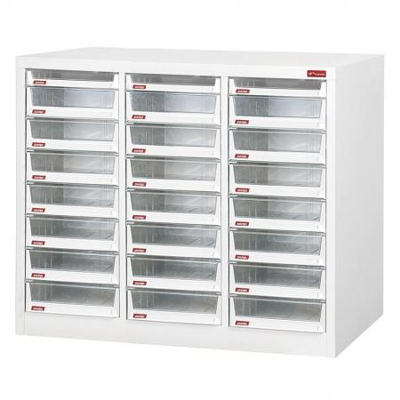 Steel File Cabinet with 21 large drawers and 3 plastic drawer in 3 columns for B4 paper - Multi-column filing and stationery cabinet suitable for daily use in office settings.