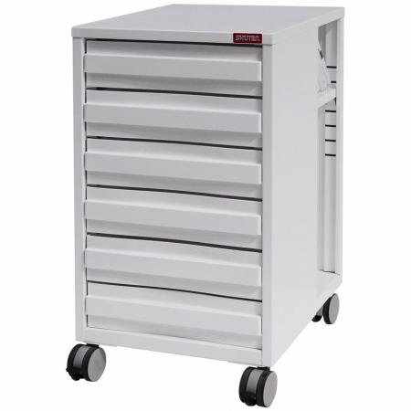 All-Entry Mobile Under-Desk Filing Cabinet Office Storage with Casters - 6 Drawers - Need file and stationery storage that is moveable? Look no further than these beautifully designed steel carts from SHUTER.