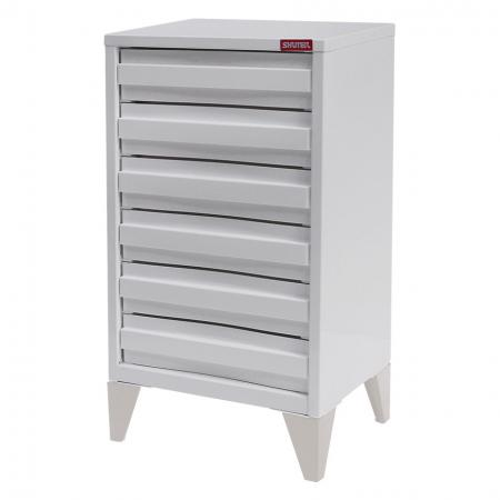 SOHO Steel Filing Cabinet with 6 deep drawers and metal Legs - SOHO office file cabinet that features a steel body and drawers for strength and legs for convenience and good looks.