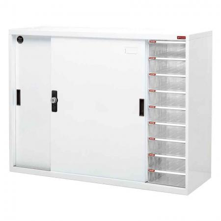 Large lockable filing cabinet with metal door and 9 drawers, 1180mm width - This filing cabinet with sliding door is perfect for multi-use office document and stationery storage needs.