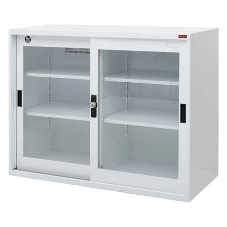 Large lockable filing cabinet with glass door, 880mm width - Lockable steel filing cabinet with transparent doors and shelves for documents and office equipment storage.
