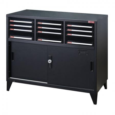 Small lockable filing cabinet with metal door and 15 drawers, 880mm width - With both drawers and lockable cabinets, this product ensures all your office storage needs are met.