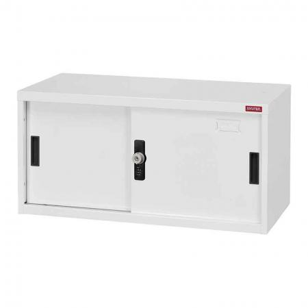 Small lockable filing cabinet with metal door, 400mm height