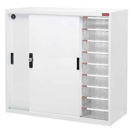 Small Wide Metal Door Storage Cabinet with 9 Drawers for Office Files and Documents - 88cm Wide