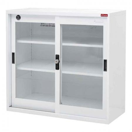 Small lockable filing cabinet with glass door, 880mm width