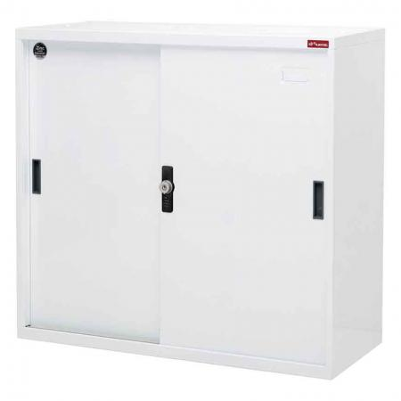 Small lockable filing cabinet with metal door, 880mm height