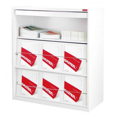 Triple Shelf Magazine Cabinet with 3 Brochure Display Areas - Install this magazine rack and stationery filing cabinet into your office for the most efficient solution to your storage needs.