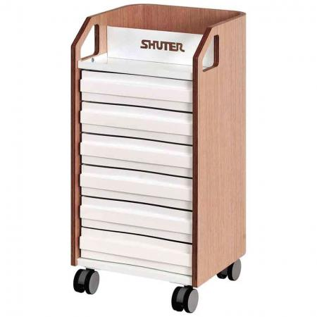 6 Drawer Bentwood Mobile Under-Desk Filing Cabinet Office Storage with Casters