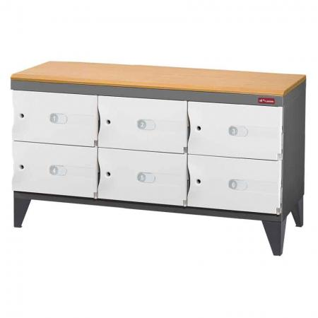 Office Storage Credenza with Wooden Top for Shoes or Office Storage - 6 Small Doors in 3 Columns - With six handy doors, this space cabinet features a lovely wooden top for stylish storage.