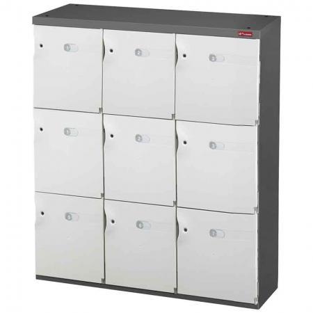 신발 또는 사무실 보관을 위한 Office Storage Credenza - 3열에 9개의 미디엄 도어