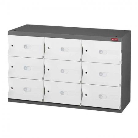 Office Storage Credenza for Shoes or Office Storage - 9 Small Doors in 3 Columns - A credenza with lockable doors for storing personal items or files.