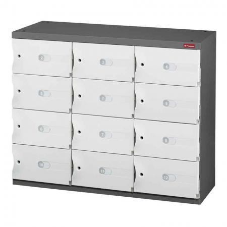 신발 또는 사무실 보관을 위한 Office Storage Credenza - 3열에 12개의 작은 문 - 스타일과 물질이 이 견고한 제품의 전문 지식과 결합됩니다. SHUTER 공간 캐비닛.