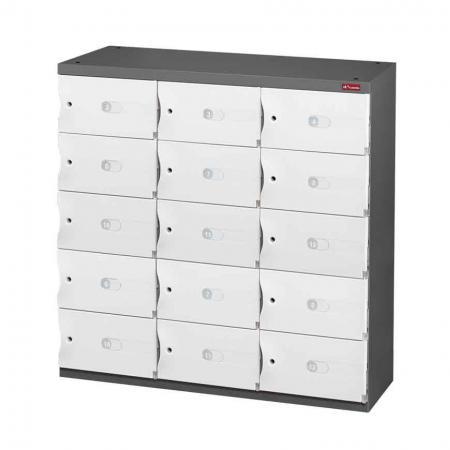 신발 또는 사무실 보관을 위한 Office Storage Credenza - 3열에 15개의 작은 문 - 머드룸, 사무실 로비 또는 직원실에 필요한 안전하고 세련된 보관 시스템입니다.