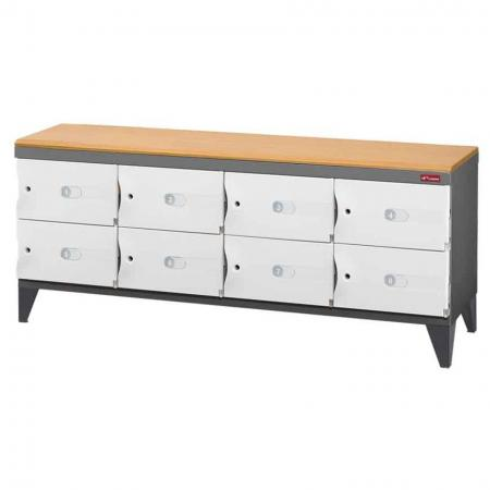 Office Storage Credenza with Legs for Shoes or Office Storage - 8 Small Doors in 4 Columns