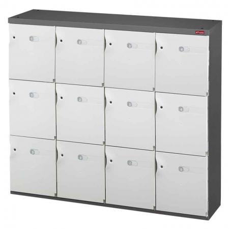 Office Storage Credenza for Shoes or Office Storage - 12 Medium Doors in 4 Columns - A cabinet with lockable doors and magnetic catches for safe personal item storage.