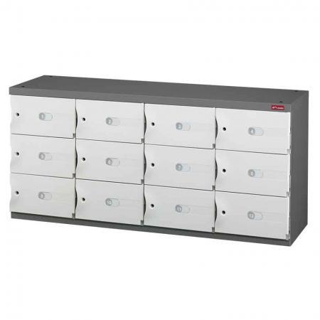 신발 또는 사무실 보관을 위한 Office Storage Credenza - 4열에 12개의 작은 문 - 견고하고 잠글 수 있는 ABS 도어가 장착된 현대적인 캐비닛입니다.