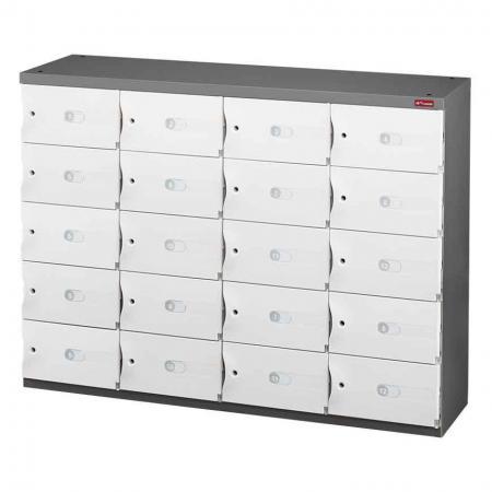 신발 또는 사무실 보관을 위한 사무실 보관 Credenza - 4열에 20개의 작은 문 - 기능적이고 안전한 사물함이 있는 철제 수납 공간입니다.