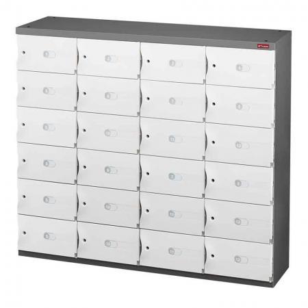 신발 또는 사무실 보관을 위한 Office Storage Credenza - 4열에 24개의 작은 문 - ABS 도어가 장착된 세이프 큐비는 이 제품의 핵심 기능입니다. SHUTER 사무실 자격증.