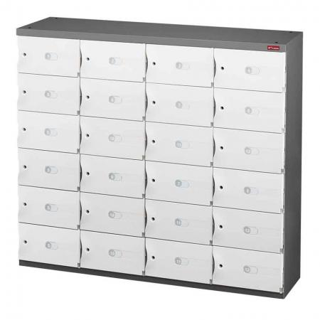 Office Storage Credenza for Shoes or Office Storage - 24 Small Doors in 4 Columns - Safe cubbies fitted with ABS doors are a key feature of these SHUTER office credenzas.